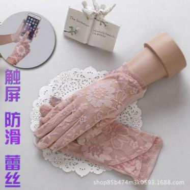 春夏季开车防紫外线短款单蕾丝手套女秋防滑薄款触屏性感时尚优雅